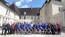 The NI team posed for one last photo at their French base before returning home.