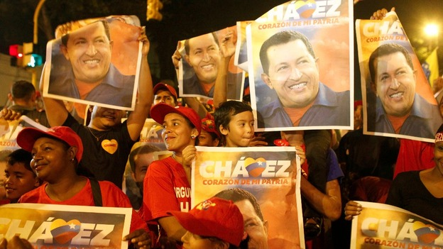 Hugo Chavez supporters celebrate his victory