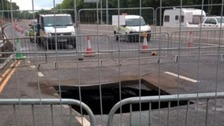A1 sinkhole that opened up near Lobley Hill