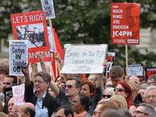 Supporters of Jeremy Corbyn gathered in Parliament Square