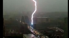 Lightning striking Tyne Bridge