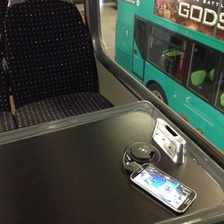 The wireless charging unit aboard a double-decker bus