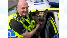 Acting Inspector Steve Minnikin from Northumbria Police with the rescued dog