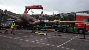 Damien Hirst's statue of Verity arrives at Ilfracombe