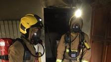 Firefighters tackle the blaze in St Lawrence
