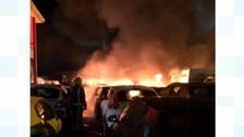 Over 40 cars on fire at a car auction in Castle Bromwich