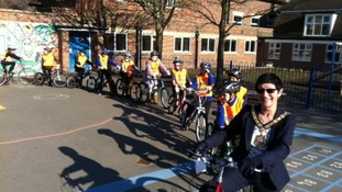 Children launching Loughborough's first ever school bike scheme