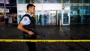 A security officer on patrol outside the airport on Wednesday morning.