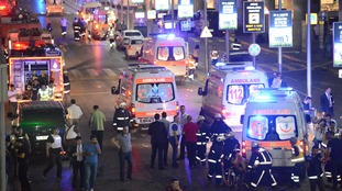 Emergency services at the scene following last night's attack.