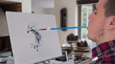 Mouth artist Henry Fraser posts video of first 18 months of his paintings.