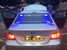 The car had blue lights and the force website fitted to it