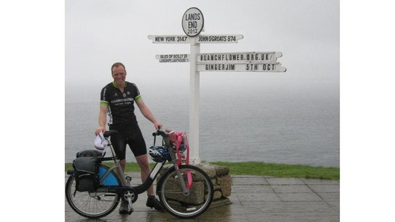 James Davies arrives at Land's End.