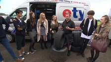 Learning about tyre safety on Young Driver Day