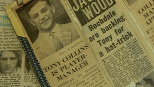 A newspaper announces Tony's appointment as Rochdale manager.