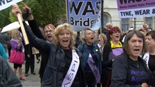 Hundreds protest decision to delay pension age
