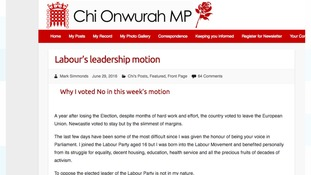 Chi Onwurah has given her thoughts on her website