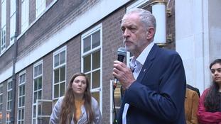 Jeremy Corbyn speaks at the rally.