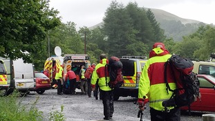 Mountain rescue teams during the search operation.