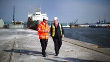 The Prime Minister tours King George Dock in Hull in 2014