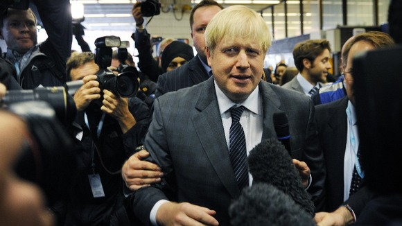 Birmingham loves boris the mayor is mobbed on arrival at tory party