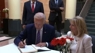 The US Vice President signed a condolence book at the Turkish embassy in Washington.
