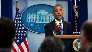 Barack Obama speaks during a press conference at the White House.