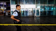 Police patrolling Ataturk Airport.
