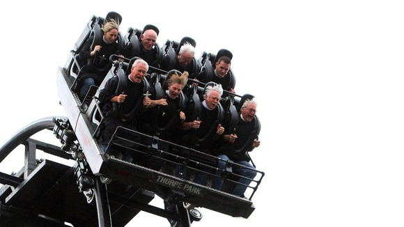 "Thrill-seekers on ""The Saw"" roller-coaster at Thorpe Park."