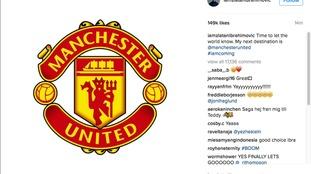 Zlatan Ibrahimovic'announcement