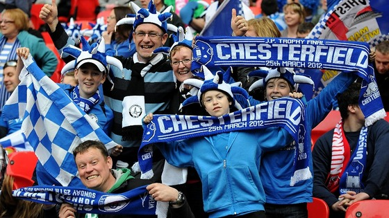 Chesterfield fans celebrating at Wembley yesterday