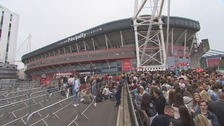 Queues outside the Principality Stadium on Thursday afternoon