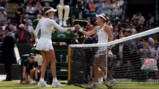 Garbine Muguruza fell in straight sets to Jana Cepelova, right, in the biggest shock yet of this year's championships.