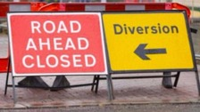 Roadwork signs on the A1 Gateshead