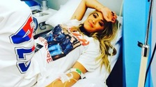 Rita Ora tweeted this picture of herself in hospital.
