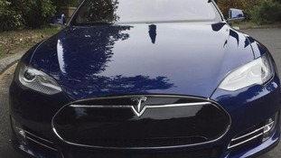 A Tesla Model S electric car.