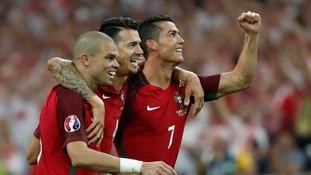 Portugal's Pepe, Fonte and Ronaldo celebrate.