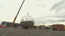 The glitterball was lifted by a crane yesterday evening