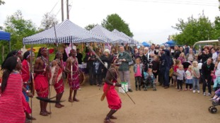 Oloip Maasai dancers from Kenya at Twycross Zoo