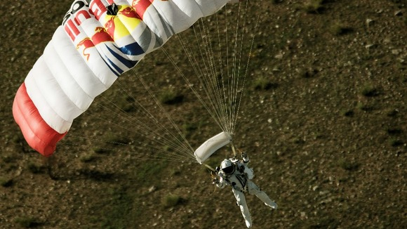 Felix Baumgartner during a test flight earlier this year