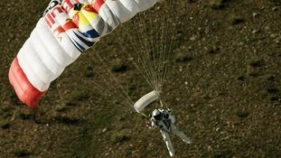 Felix Baumgartner during a test flight earlier this year