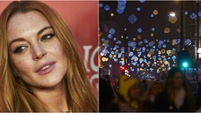 Lindsay Lohan looks like she's up for switching on Kettering's Christmas lights.