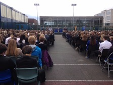 More than 1,000 pupils gathered at Wales High School