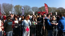 Hopefuls queuing outside the Cardiff City Stadium