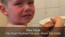 Little Max threw a tantrum because his mum flushed his poo down the toilet