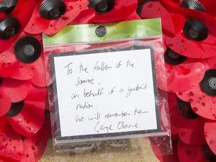 The message Mr Osborne left on his wreath.