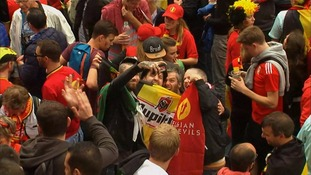 Welsh and Belgium fans take selfies together ahead of their Euro 2016 quarter final