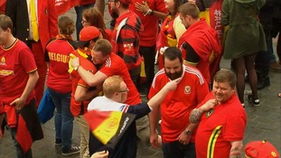 Friendly scenes between the Welsh and Belgian fans