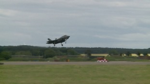 The F-35s fly over RAF Marham today.