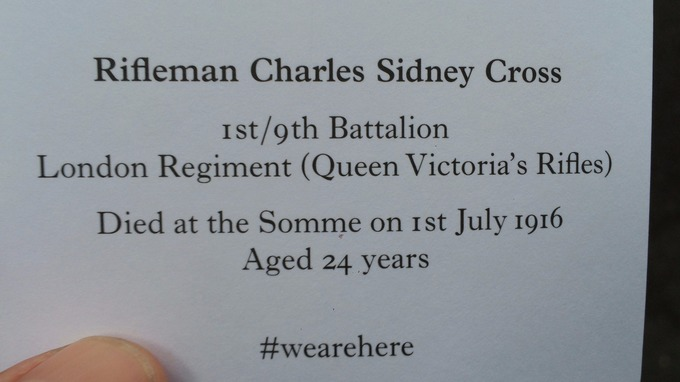 One of the cards representing a fallen soldier who died in the Somme.
