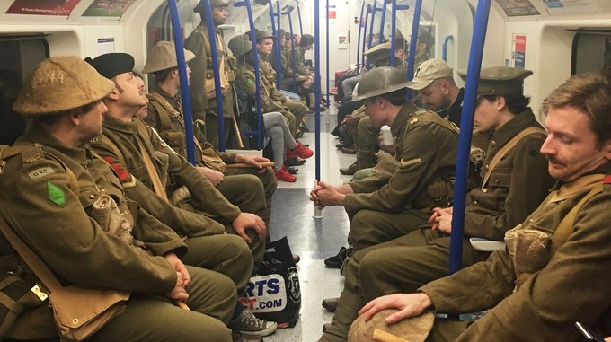The soldiers among commuters.